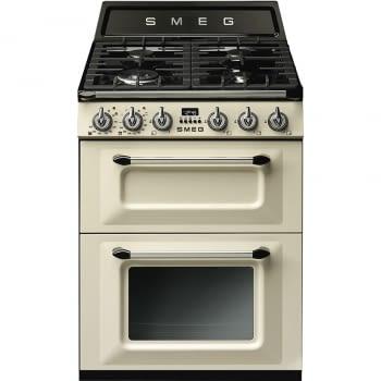 Cocina Victoria Smeg TR62P Crema de 60 cm, Encimera de Gas con 4 Quemadores y 2 Hornos Termoventilados | Clase A