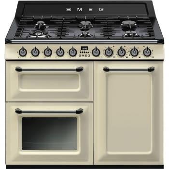 Cocina Victoria Smeg TR103P Crema de 100 cm, Encimera de Gas con 6 Quemadores y 3 Hornos Termoventilados | Clase A