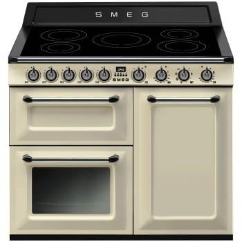 Cocina Victoria Smeg TR103IP Crema de 100 cm, Encimera de Inducción con 6 Zonas y 3 Hornos Termoventilados | Clase A