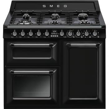 Cocina Victoria Smeg TR103BL Negra de 100 cm, Encimera de Gas con 6 Quemadores y 3 Hornos Termoventilados | Clase A