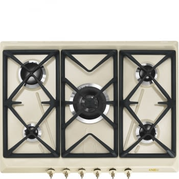 Placa de Gas Smeg SRV876POGH color Crema, de 70 cm, Gas Natural con 5 Quemadores