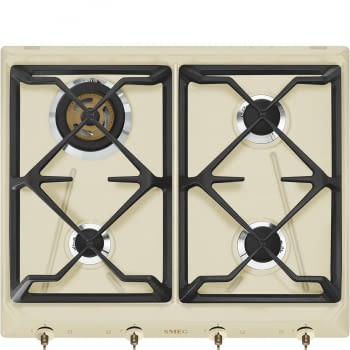 Placa de Gas Smeg SRV864POGH color Crema, de 60 cm, Gas Natural con 4 Quemadores