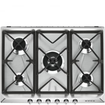 Placa de Gas Smeg SR975XGH Inoxidable, de 70 cm, Gas Natural con 5 Quemadores (1 Ultrarrápido)