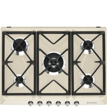 Placa de Gas Smeg SR975PGH Crema, de 70 cm, Gas Natural con 5 Quemadores (1 Ultrarrápido)