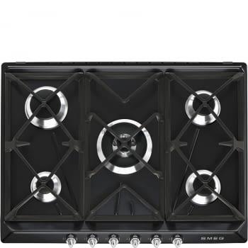 Placa de Gas Smeg SR975NGH Negra, de 70 cm, Gas Natural con 5 Quemadores (1 Ultrarrápido)