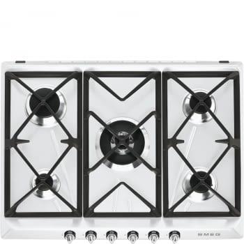 Placa de Gas Smeg SR975BGH Blanca, de 70 cm, Gas Natural con 5 Quemadores (1 Ultrarrápido)