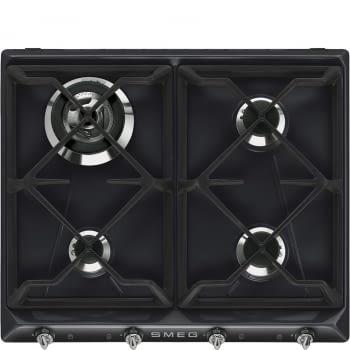 Placa de Gas Smeg SR964NGH Negra, de 60 cm, Gas Natural con 4 Quemadores (1 Ultrarrápido)