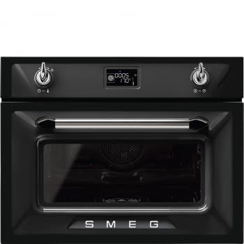 Horno Victoria Smeg SF4920VCN1 Combinado Vapor, Compacto de 45 cm, en color Negro, con 14 funciones de cocción y limpieza Vapor Clean | Clase A+