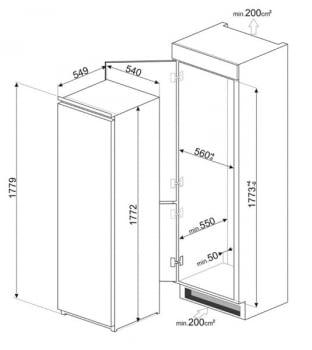 Frigorífico Monopuerta Integrable SMEG S8L1721F | Puerta Reversible | A++ - 2