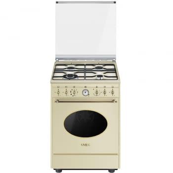 Cocina Colonial Smeg CO68GMP9 en Crema, de 60 cm, con Encimera de Gas y 4 Quemadores | Horno Termoventilado con limpieza VaporClean | Clase A
