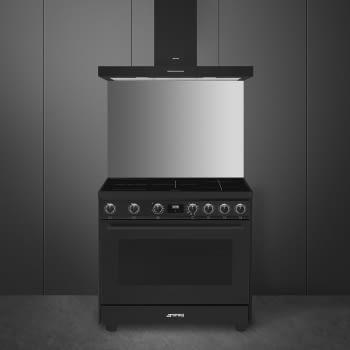 Cocina de estética clásica SMEG C91IEA9 | Negro | 90x60cm | Encimera inducción | 5 zonas de cocción - 2