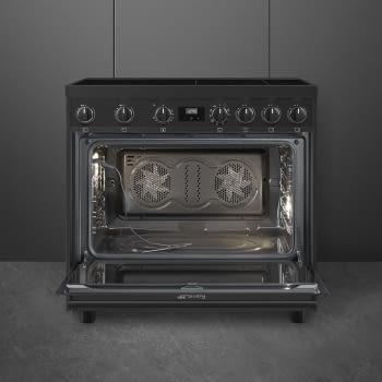 Cocina de estética clásica SMEG C91IEA9 | Negro | 90x60cm | Encimera inducción | 5 zonas de cocción - 3
