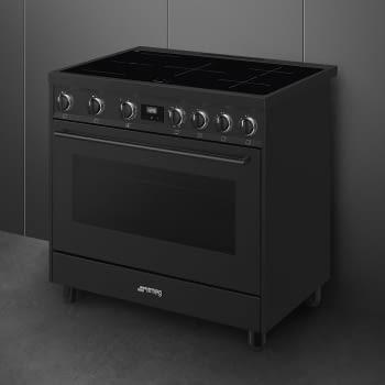 Cocina de estética clásica SMEG C91IEA9 | Negro | 90x60cm | Encimera inducción | 5 zonas de cocción - 4
