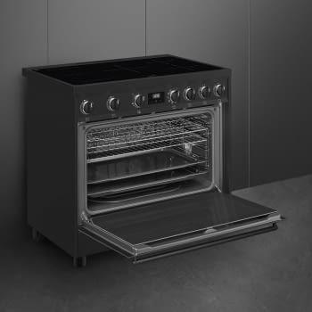 Cocina de estética clásica SMEG C91IEA9 | Negro | 90x60cm | Encimera inducción | 5 zonas de cocción - 5