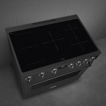 Cocina de estética clásica SMEG C91IEA9 | Negro | 90x60cm | Encimera inducción | 5 zonas de cocción - 6