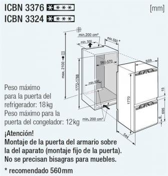 Frigorífico Combi Integrable Liebherr IN ICBN-3324-22 | BioFresh | No  Frost | Clase E - 3