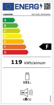 Frigorifico empotrable Integrable Liebherr IN IKS-1620 | BioCool | 87,4/89X56/57X55cm | Clase F - 5