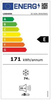 Congelador empotrable Integrable Liebherr IN IG-1024-21 |71,4/73x56/57x55cm | 3 cajones SmartFrost | Clase E - 5