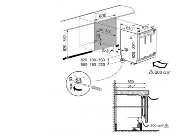 Congelador empotrable integrable Liebherr IN SUIGN-1554 21 bajo encimera   82/88 X 60 X 55 cm   3 cajones No Frost   Clase E - 6