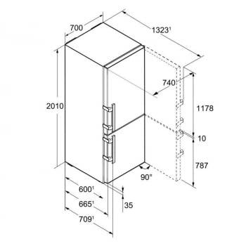 Frigorífico combi INOX Liebherr CBNes-5778   No Frost y BioFresh   201 x 70 x 66,5 cm   Premium GlassLine   Clase C - 6