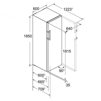 Frigorífico 1 puerta Liebherr KBef-4330-21   BluPerformance   3 cajones BioFresh   185 X 60 X 66,5 cms.   233 + 133 L.   Clase D - 6