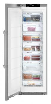 Congelador vertical INOX NoFrost Liebherr SGNef-4335 | BluPerformance | 8 cajones | 185 X 60 X 66,5 cms. | 268 L. | Clase E