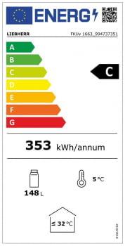 Frigorífico Liebherr FKUv-1663-22 semi-industrial ventilado | Frío ventilado | 83 X 60 X 61,5 cms. | 130 L. | Acero Inoxidable y puerta de cristal - 7