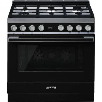 Smeg CPF9GMBL Cocina Portofino Negra con Encimera a Gas y Horno Eléctrico A+