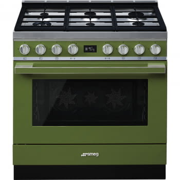 Smeg CPF9GMOG Cocina Portofino Verde Oliva con Encimera a Gas y Horno Eléctrico A+