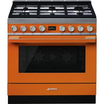 Smeg CPF9GMOR Cocina Portofino Naranja con Encimera a Gas y Horno Eléctrico A+