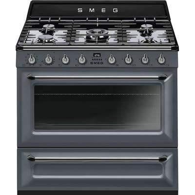Cocina Victoria Smeg TR90GR Gris de 90 cm, Encimera de Gas con 5 Zonas de cocción, 1 Horno Termoventilado con limpieza Vapor Clean | Clase A -