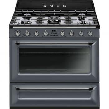 Cocina Victoria Smeg TR90GR Gris de 90 cm, Encimera de Gas con 5 Zonas de cocción, 1 Horno Termoventilado con limpieza Vapor Clean | Clase A