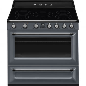 Cocina Victoria Smeg TR90IGR Gris de 90 cm, Encimera de Inducción con 5 Zonas de inducción y 1 Horno Termoventilado con limpieza Vapor Clean | Clase A