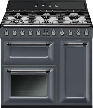 Cocina Victoria Smeg TR93GR Gris de 90 cm, Encimera de Gas con 6 Quemadores de Gas y 3 Hornos Termoventilado con limpieza Vapor Clean | Clase A - 1