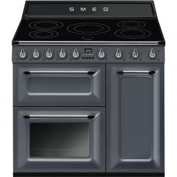 Cocina Victoria Smeg TR93IGR Gris de 90 cm, Encimera de Inducción con 5 Zonas y 3 Hornos Termoventilados con limpieza Vapor Clean | Clase A