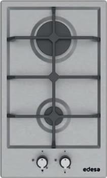 Placa de gas natural Edesa EGX-3021 TI N Inoxidable de 30cm, con 2 quemadores | Quemador súper-rápido + semi-rápido | Sistema de seguridad