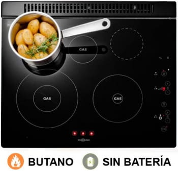 Vitrocerámica de gas butano sin batería Vitrokitchen 201TGBA | Se limpia muy fácil | 5 Zonas de cocción | 60cm