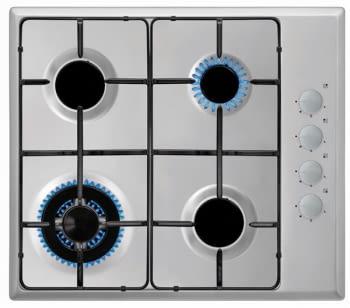 Placa Gas Natural Vitrokitchen EN61LIN | 4 Fuegos | 56 x 48 cm | Inox