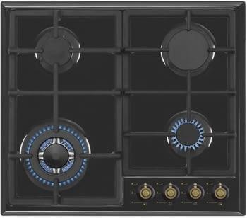 Encimera de gas butano Vitrokitchen EN63RB | 4 quemadores con Wok | Válvula de seguridad | 51x58cm