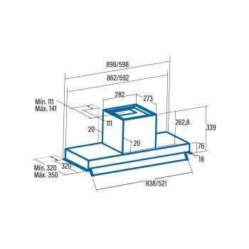 Campana grupo filtrante 60cm Cata ARMONIA 60 X | INOX - 4