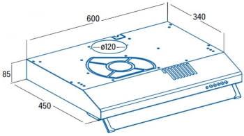Campana de pared Convencional Cata LF-2060 X   60cm   69 dB   195 m³/h   Inox - 2