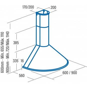 Campana Decorativa Cata Q-7760 BK /L   Negro   Ancho 60cm   3 niveles de extracción - 2