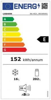 Frigorífico empotrable Integrable Liebherr IRe-4521   Cajón EasyFresh   139,7/141,3X56/57X55cm   Con congelador   CLase E - 3