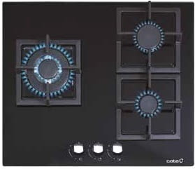 Placa de Gas Natural SCI 6021 BK | 3 Zonas | Cristal Negro | Autoencendido integrado | 5.2 x 59 x 51 cm
