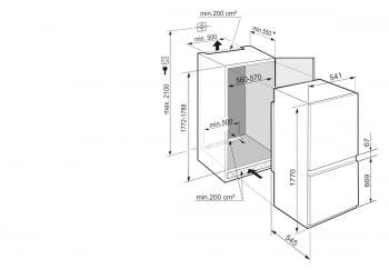 Frigorifico Combi Integrable Liebherr ICNSf-5103 | No Frost | EasyFresh | DuoCooling | 177,2-178,8/56-57/55,0cm | Puerta deslizante | Clase F - 3