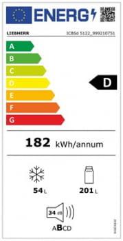 Frigorifico Combi Integrable Liebherr ICBSd-5122 | SmartFrost | BioFresh | 177,2-178,8/56-57/55cm | Puerta deslizante | Clase D - 5