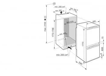 Frigorífico Combi Integrable Liebherr ICNe-5133  EasyFresh   NoFrost   IceMaker   177,2-178,8/56-57/55cm   Clase E - 5
