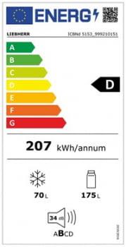 Frigorifico Combi Integrable  Liebherr ICBNd-5153 | Biofresh | No Frost | 177,2/178,8X56/57X55cm | Clase D - 5