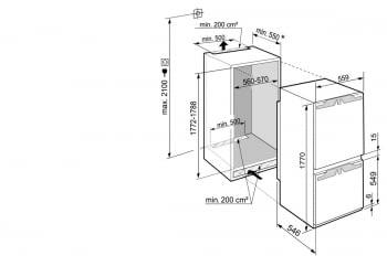 Frigorifico Combi Integrable Liebherr ICBdi 5182   SmartFrost   EasyFresh   177,2/178,8X56/57X55cm   Clase D - 4