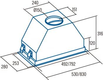 Grupo Filtrante CATA GCX 53 SD Inox y Cristal Gris | de 53cm | 750m3/h | 4 velocidades | Clase A - 2